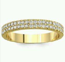 14K Yellow Gold .80 Ct Simulated Diamond Wedding Band Double Row