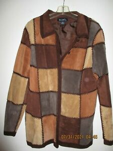 Vintage Women's Denim & Co Leather Patchwork Jacket (Size L)