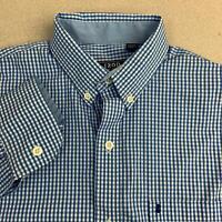 Izod Button Up Shirt Mens S Blue White Long Sleeve Non-Iron Stretch Check Shirt