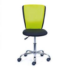 Chaise de bureau enfant noir vert en métal chromé