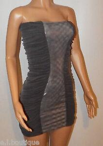 VICKY MARTIN silver grey metalic bodycon strapless tube mini dress 8 10 BNWT