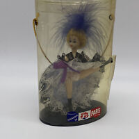 "PARIS Souvenir Can-Can Dancer Dressed in Royal Blue & Feathers 5""  Plastic Doll"