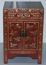 STUNNING SMALL CHINESE RED LACQUERED SIDE CABINET WITH DRAWER CUPBOARD HAND MADE