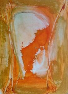 ABSTRACT ORANGE PAINTING acrylic on paper format A3 original art unique artwork