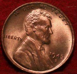 Uncirculated Red 1945-S San Francisco Mint Copper Lincoln Wheat Cent