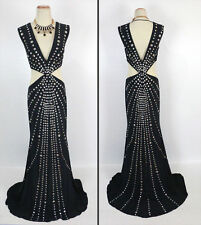 Jovani NWT Long Black Size 10 Prom Formal Evening Nude Dress New Sleeveless $600