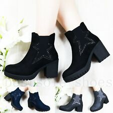 LADIES WOMENS CHELSEA PLATFORM ANKLE BOOTS STAR MID HIGH BLOCK HEEL SHOES SIZE