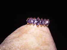 Marquise Tanzanite Pyramid Step Design REAL 10K Yellow Gold Band Ring - 2.2 g
