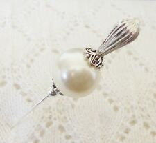 Cream Glass Pearl Bead HatPin with clutch ~Lapel Hat Stick Pin - approx. 76mm