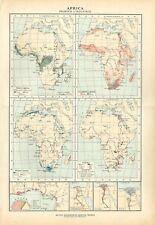 Carta geografica antica AFRICA PRODOTTI INDUSTRIE De Agostini 1927 Antique map