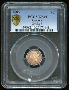 1885 Canada Five Cents Silver Coin - PCGS XF40 - SM/LG 5 Variety