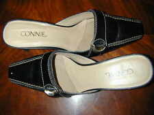 SHOES MULES Connie Tan Black Slip-ons 6M Women Stylish Leather Small Heel Cute