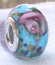 Blue Pink Rose Flower Murano Glass Bead for Silver European Charm Slide Bracelet