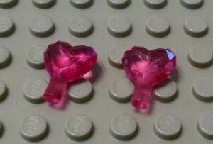 New LEGO Lot of 2 Translucent Dark Pink 1x1 Minifigure Heart Shaped Jewel Pieces