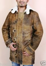 The Dark Knight Rises Bane Genuine Real Leather Buffing Brown Trench Coat Jacket