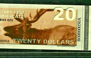 "$20 ""MILITARY FEST CERTIFICATE"" ""NICE""  00000050A* (LOWWWW SERIAL) $20 MOOSE!!!!"