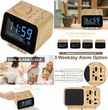 Uscce Digital Alarm Clock Radio - 0-100% Dimmer, Dual with Wood Grain
