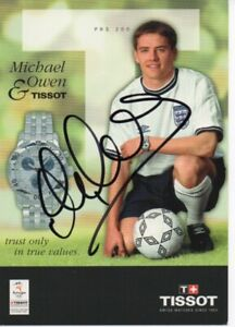 MICHAEL OWEN Signed 6x4 Photo Card ENGLAND & LIVERPOOL Legend COA