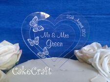 Engraved Heart Acrylic Personalised Wedding butterflies cake toppers decorations