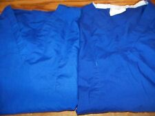2 basic scrubs top medical vet uniform pullover 1 pocket reversible royal blue L
