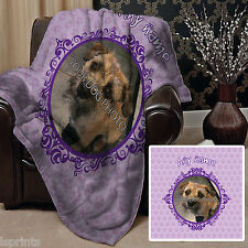 Personalised Purple Dog Pet Photo Design Soft Fleece Blanket Cover Animal
