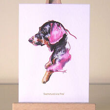 Pink Dachshund ACEO Art Card oil pastel Doxie Dog Surrealism drawing