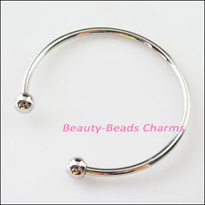 1Pc Dull Silver Plated Bangle Bracelet Chain fit European Beads Connectors 64mm