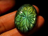 35x20mm- Natural Labradorite Hand Carved Oval Cabochon Flower Of Life Full Flash