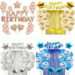 Happy Birthday Balloons Set Foil Baloon Banner Bunting Chrome Confetti Balloons