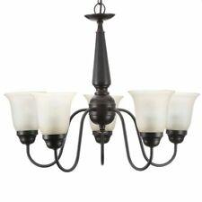 5-Light LED Oil-Rubbed Bronze Reversible Chandelier Glass Shade Ceiling Lighting