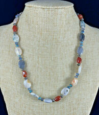 "Chunky Multi Gemstone Jasper Blue Necklace Crystal Spacers 21"" EUC"