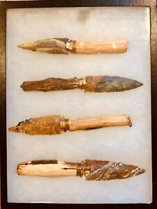 Fossils hand crafted 4 knife collection artifacts big case knives! (USA)