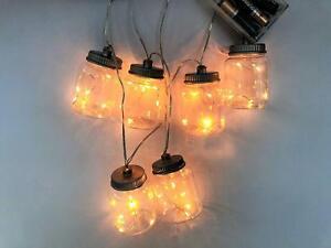 30 LED Battery Mason Jam Jar Indoor Fairy Lights Warm White Christmas Wedding