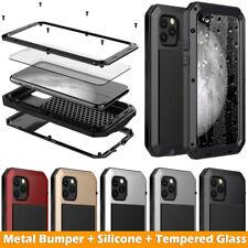 iPhone 11 Pro Max X XS XR 6 7 8 Plus Waterproof Metal Case Cover + Gorilla Glass