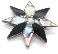 Vintage Sterling Silver Brooch Pin 925 Flower Mexico Pendant Necklace Shell