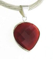 Ónice facetado rojo Corazón Colgante Conjunto En Plata Esterlina