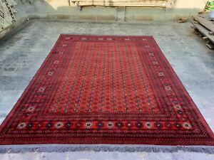 Afghan vintage turkmeni rug mori qul carpet handmade knotted rug 10.11×8.2 ft