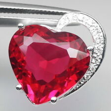 MAGNETIC! RED TOPAZ HEART 13CT. & WHITE SAPPHIRE STERLING 925 SILVER PENDANT