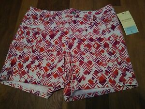 SONOMA MODERN FIT CRANBERRY PRINT TWILL SHORTS WOMENS Size 8 NEW Denim Jean Soft