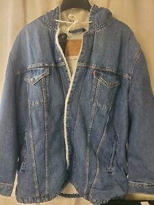 Levi Premium Hooded Trucker Jacket Denim Sherpa Size L New With Tags $148