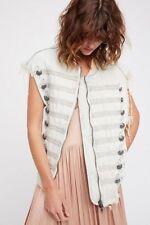 Free People White Embroidered Military Light Denim Vest OB621029 Sz M/L $198 NWT