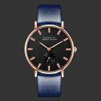 Men's Quartz Wrist Analog Watch Rose Gold Case Blue leather Strap Black Dial
