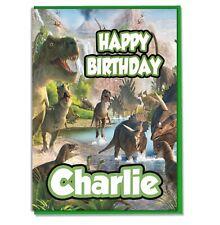 Personalised Dinosaur Birthday Card - Girls Boys Kids Son Daughter Grandson