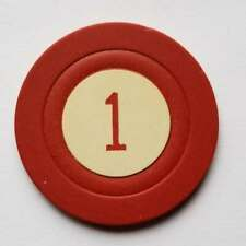 New listing Vintage Casino Chip, 1, Number One, Red
