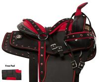 RED YOUTH KIDS SEAT QUARTER HORSE WESTERN SYNTHETIC SADDLE TACK PAD 10 12 13
