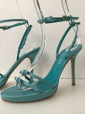 VALENTINO TURQUOISE SATIN HIGH-HEEL ANKLE STRAP SANDALS SIZE 38 1/2 WORN ONCE