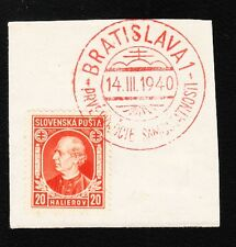 Germany Puppet State Slovakia Bratislava 1940 20h Stamp On Piece Red Cancel K