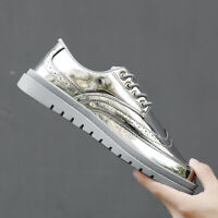 Mens Patent Leather Lace Up Hip Hop Shoes Punk Shiny Low Top Sports Sneakers New