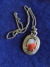 Vintage Miracle Pendant necklace, Scottish Celtic, glass Banded agate, signed