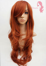 W9 Copper Red Extra Long Synthetic Wig Layered Natural Skin Top Wavy